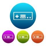 Kurenda, gradientowego retro kontrolera sylwetki biała ikona Cztery kolor różnicy ilustracja wektor