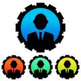 Kurenda, gradientowy biznesmen sylwetki avatar ikony set Biznesmen w cog ikonie ilustracji