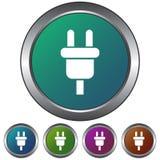 Kurenda kabel, prymki ikona, kruszcowy, gradientowy, prosty,/ Pięć kolorów różnic Odizolowywający na bielu royalty ilustracja