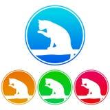 Kurenda, kolorowa, gradientowa kot sylwetki bielu ikona, Kot umieszczający na gałąź ilustracji