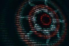 Kurenda macha na abstrakcjonistycznej cyfrowej ścianie w cyberprzestrzeni, binarny technologii tło zdjęcie royalty free