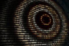 Kurenda macha na abstrakcjonistycznej cyfrowej ścianie w cyberprzestrzeni, binarny technologii tło Obraz Stock