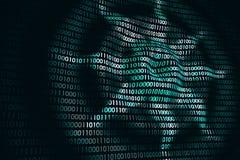 Kurenda macha na abstrakcjonistycznej cyfrowej ścianie w cyberprzestrzeni, binarny technologii tło obraz royalty free