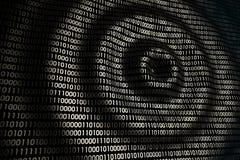 Kurenda macha na abstrakcjonistycznej cyfrowej ścianie w cyberprzestrzeni, binarny technologii tło zdjęcie stock