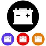 Kurenda, mieszkanie, accumulator bielu ikona Cztery kolor różnicy Odizolowywający na bielu royalty ilustracja