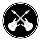 Kurenda, mieszkanie, monochrom krzyżował gitary elektrycznej ikony bielu sylwetkę ilustracja wektor