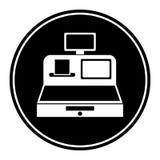 Kurenda, monochromatyczna kasy ikony bielu sylwetka Zdjęcie Royalty Free