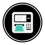 Kurenda, płaska ATM maszyny ikona Biel/siwieje na czerni Odizolowywający na bielu Zdjęcia Stock