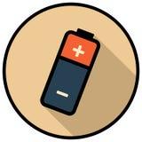 Kurenda, płaska bateryjna ikona Ciskać cień Odizolowywający na bielu royalty ilustracja