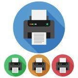 Kurenda, płaska drukarki ikona cztery różnice Odizolowywający na bielu ilustracja wektor