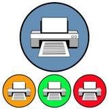 Kurenda, płaska drukarki ikona zarysowywająca cztery różnice Odizolowywający na bielu royalty ilustracja