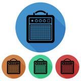 Kurenda, płaska gitary amp amplifikatoru ikona z cieniem cztery różnice ilustracja wektor