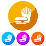 Kurenda, płaska ikona cheeseburger z stroną dłoniaki Biała sylwetka Cztery kolor różnicy ilustracji