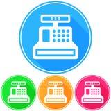 Kurenda, płaska kasy ikony bielu sylwetka Cztery kolor różnicy ilustracja wektor