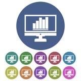 Kurenda, płaska monitor sylwetka z up wykazywać tendencję biznesowego wykresu ikoną royalty ilustracja