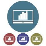 Kurenda, płaska monitor sylwetka z up wykazywać tendencję biznesowego wykresu ikoną cztery różnice royalty ilustracja