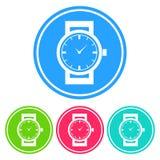 Kurenda, płaska wristwatch sylwetki bielu ikona cztery różnice ilustracja wektor