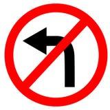 Kurenda pojedynczy biel czerwony i czerni żadny zwrot opuszczać symbol ilustracja wektor
