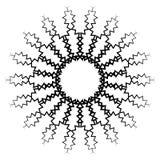 Kurenda, promieniowy abstrakcjonistyczny element na bielu Promieniować kształt z ilustracja wektor