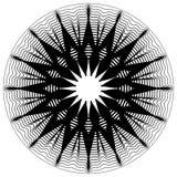 Kurenda, promieniuje abstrakcjonistycznego kształt, motyw Geometrycznego projekta elem ilustracja wektor