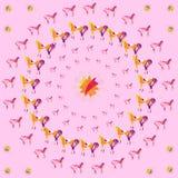 Kurenda wzór barwioni konie, abstrakcjonistyczny kwiecisty ornament royalty ilustracja