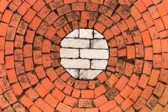 Kurenda wzór Czerwone cegły Wokoło Białego sedna zdjęcia stock