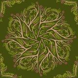 Kurenda wzór mandala Round elvin kwiecisty wektorowy ornament Zieleń Obrazy Royalty Free