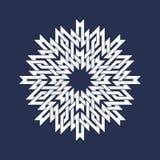 Kurenda wzór w azjata przecina linia styl Biel osiem wskazywał mandala w płatek śniegu formie na błękitnym tle ilustracja wektor