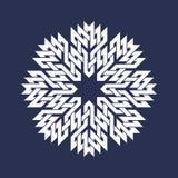 Kurenda wzór w azjata przecina linia styl Biel osiem wskazywał mandala w płatek śniegu formie na błękitnym tle ilustracji