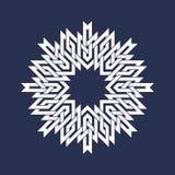 Kurenda wzór w azjata przecina linia styl Bielu osiem wskazujący mandala w płatek śniegu formie ilustracji