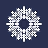 Kurenda wzór w azjata przecina linia styl Bielu osiem wskazujący mandala w płatek śniegu formie ilustracja wektor