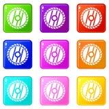 Kurenda zobaczył ostrze ikon 9 set royalty ilustracja