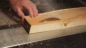 Kurenda zobaczył piłowania drewno w warsztacie zbiory wideo