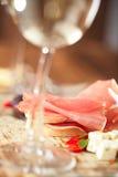 Kurerat köttjamonkorv och ciabattabröd Fotografering för Bildbyråer