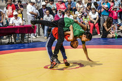 Kuresh wrestling. Ufa Republic Of Bashkortostan. Russia. Open tournament on wrestling kuresh Cup of the head of the city Administration , devoted to the city Day Royalty Free Stock Photography