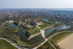 Kuressaare Castle from above and the town royalty free stock image