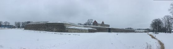 Kuressaare Castle Panoramic Photo. Kuressaare Castle photographed in snowy winter Royalty Free Stock Images