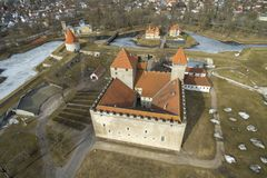 Kuressaare Castle aerial Photo. Kuressaare Castle photographed in spring 2018 Royalty Free Stock Images