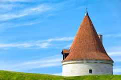 Kuressaare castle tower. With blue sky in background and green grass in foreground (Saarema, Estonia Stock Photography