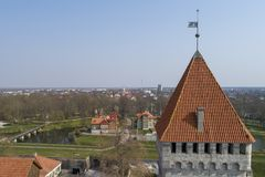 Kuressaare Castle watchtower and the town royalty free stock images