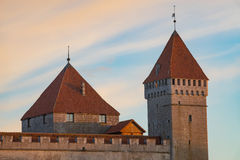 Kuressaare Episcopal Castle towers in sunrise light Royalty Free Stock Image