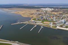 Kuressaare Harbour aerial stock photo