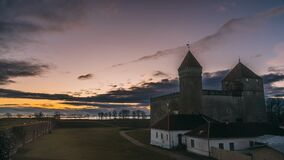 Kuressaare, Saaremaa Island, Estonia. Time-lapse, Time Lapse, Timelapse Episcopal Castle In Sunset Time. Traditional stock video footage