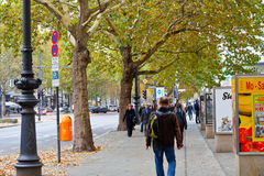 Kurfurstendamm的步行部分在柏林 免版税图库摄影