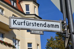 Kurfurstendamm. Is one of the most famous avenues in Berlin, Germany. Road sign Royalty Free Stock Photos