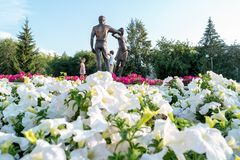 Kurgan, Russia - August 10, 2016: A monument dedicated to young. Family stock photography