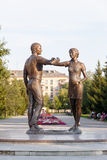 Kurgan, Russland - 10. August 2016: Monument eine junge Familie Lizenzfreie Stockbilder