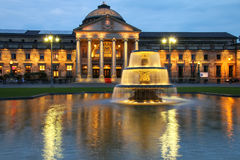 Kurhaus and Bowling Green in the evening with lights, Wiesbaden, Stock Photos