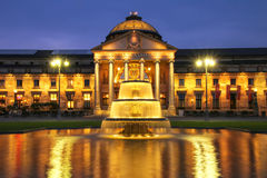 Kurhaus and Bowling Green in the evening with lights, Wiesbaden, Royalty Free Stock Photography