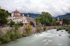 Kurhaus of Meran at the Passer river. South Tyrol, Italy stock photography